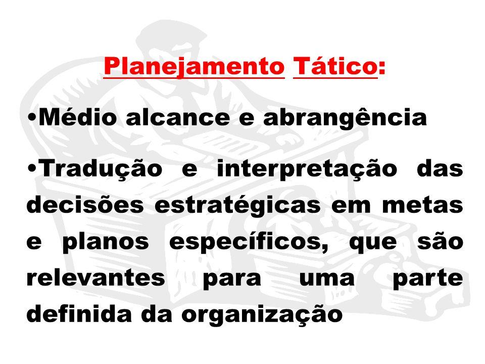 Planejamento Tático: Médio alcance e abrangência Tradução e interpretação das decisões estratégicas em metas e planos específicos, que são relevantes