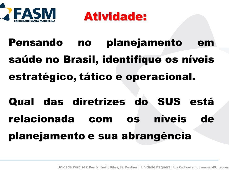 Atividade: Pensando no planejamento em saúde no Brasil, identifique os níveis estratégico, tático e operacional. Qual das diretrizes do SUS está relac
