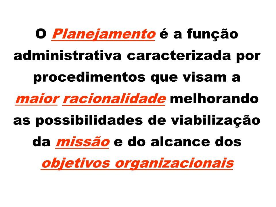O Planejamento é a função administrativa caracterizada por procedimentos que visam a maior racionalidade melhorando as possibilidades de viabilização