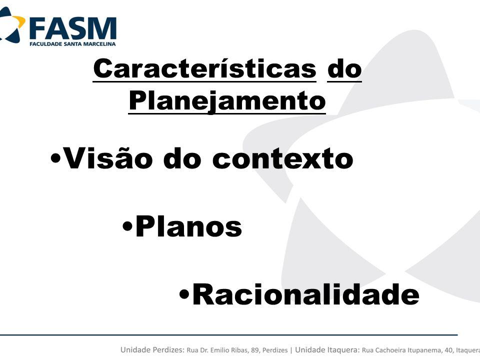 Características do Planejamento Visão do contexto Planos Racionalidade