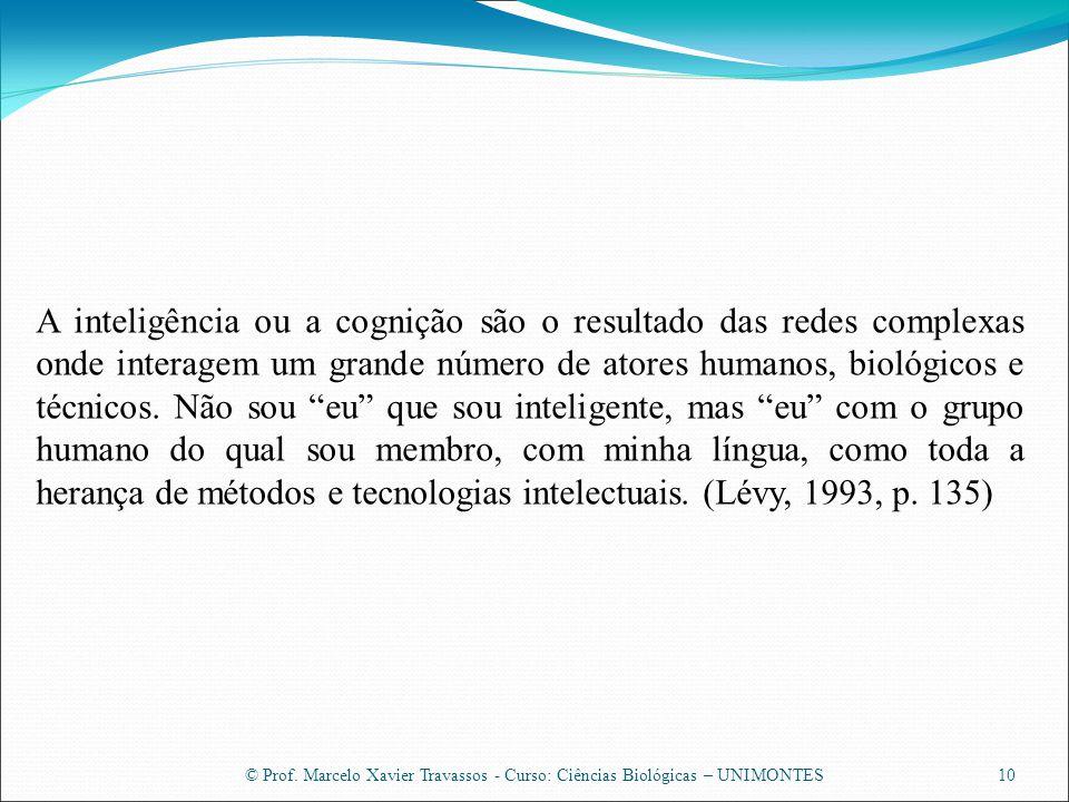 © Prof. Marcelo Xavier Travassos - Curso: Ciências Biológicas – UNIMONTES10 A inteligência ou a cognição são o resultado das redes complexas onde inte