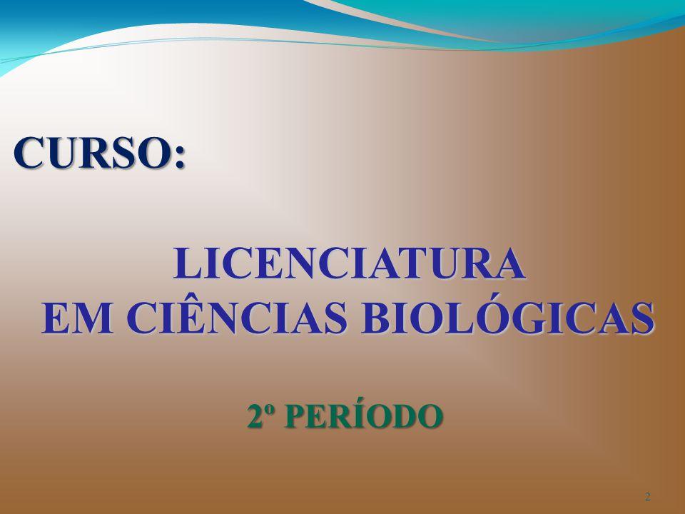 LICENCIATURA EM CIÊNCIAS BIOLÓGICAS 2º PERÍODO CURSO: 2