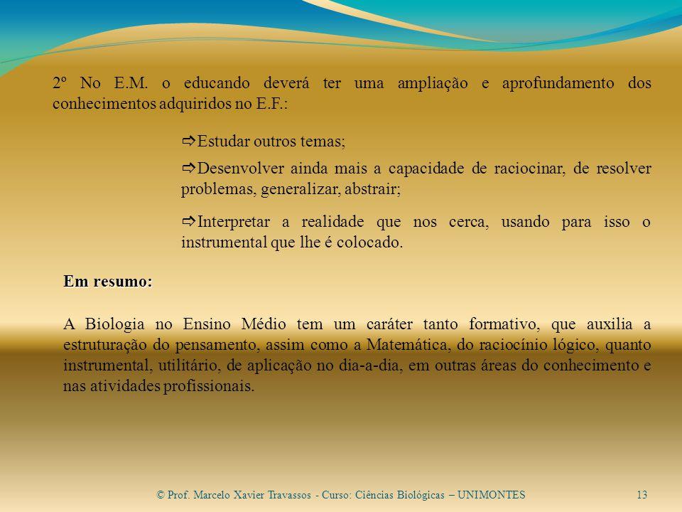 © Prof.Marcelo Xavier Travassos - Curso: Ciências Biológicas – UNIMONTES13 2º No E.M.