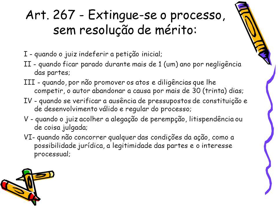 Art. 267 - Extingue-se o processo, sem resolução de mérito: I - quando o juiz indeferir a petição inicial; II - quando ficar parado durante mais de 1
