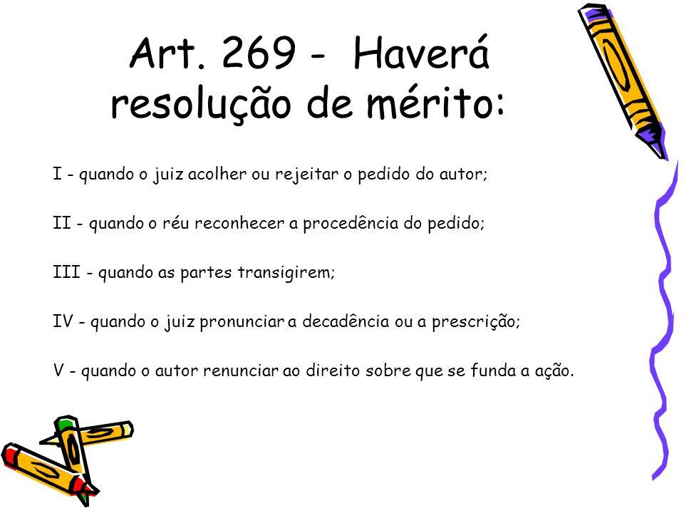 Art. 269 - Haverá resolução de mérito: I - quando o juiz acolher ou rejeitar o pedido do autor; II - quando o réu reconhecer a procedência do pedido;