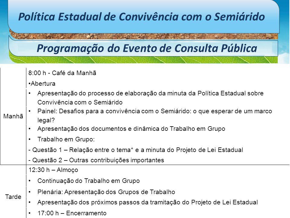Política Estadual de Convivência com o Semiárido Programação do Evento de Consulta Pública Manhã 8:00 h - Café da Manhã Abertura Apresentação do proce