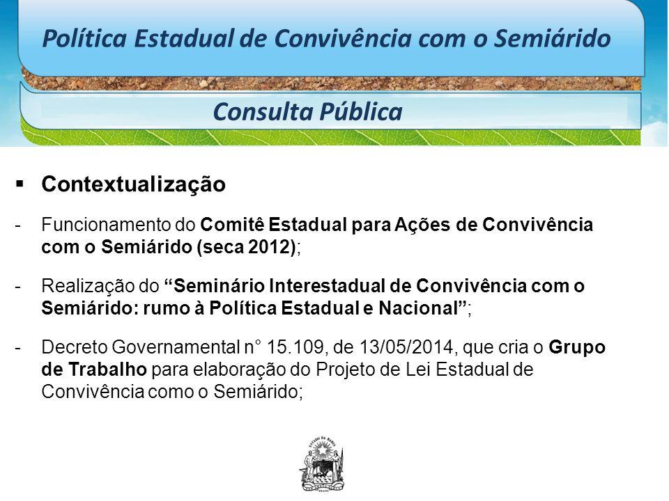 Política Estadual de Convivência com o Semiárido Consulta Pública  Contextualização -Funcionamento do Comitê Estadual para Ações de Convivência com o