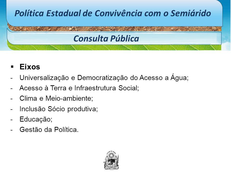 Política Estadual de Convivência com o Semiárido Consulta Pública  Eixos -Universalização e Democratização do Acesso a Água; -Acesso à Terra e Infrae