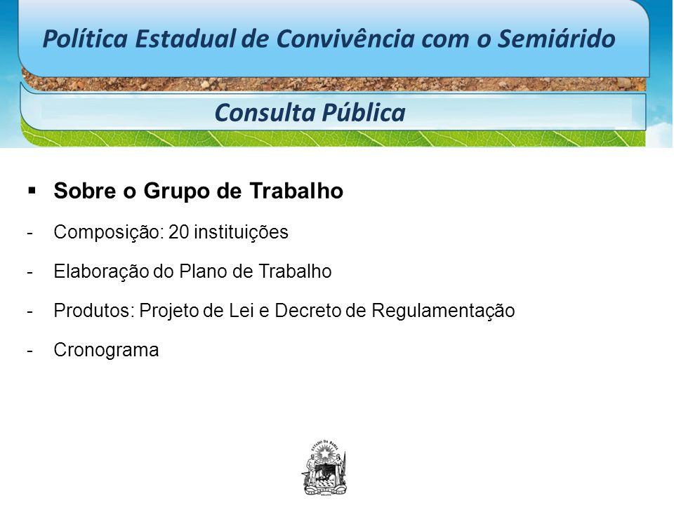 Política Estadual de Convivência com o Semiárido Consulta Pública  Sobre o Grupo de Trabalho -Composição: 20 instituições -Elaboração do Plano de Tra