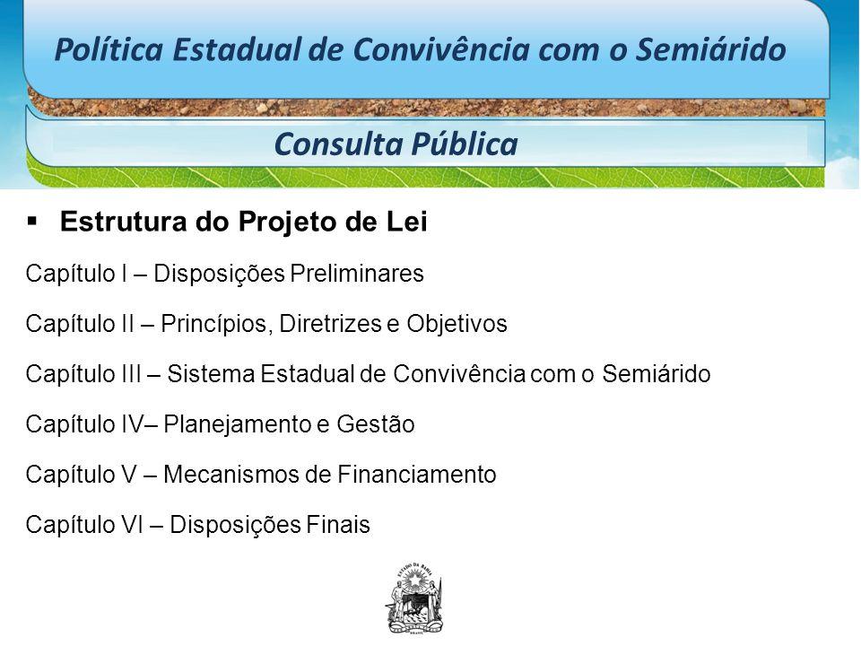 Política Estadual de Convivência com o Semiárido Consulta Pública  Estrutura do Projeto de Lei Capítulo I – Disposições Preliminares Capítulo II – Pr