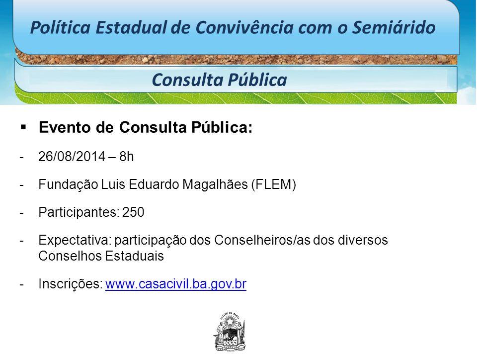 Política Estadual de Convivência com o Semiárido Consulta Pública  Evento de Consulta Pública: -26/08/2014 – 8h -Fundação Luis Eduardo Magalhães (FLE