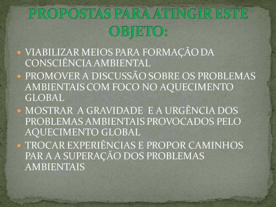 VIABILIZAR MEIOS PARA FORMAÇÃO DA CONSCIÊNCIA AMBIENTAL PROMOVER A DISCUSSÃO SOBRE OS PROBLEMAS AMBIENTAIS COM FOCO NO AQUECIMENTO GLOBAL MOSTRAR A GRAVIDADE E A URGÊNCIA DOS PROBLEMAS AMBIENTAIS PROVOCADOS PELO AQUECIMENTO GLOBAL TROCAR EXPERIÊNCIAS E PROPOR CAMINHOS PAR A A SUPERAÇÃO DOS PROBLEMAS AMBIENTAIS