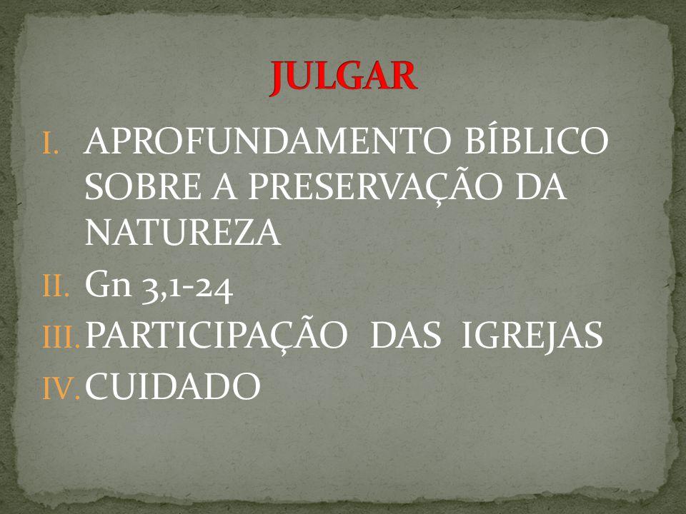 I. APROFUNDAMENTO BÍBLICO SOBRE A PRESERVAÇÃO DA NATUREZA II.