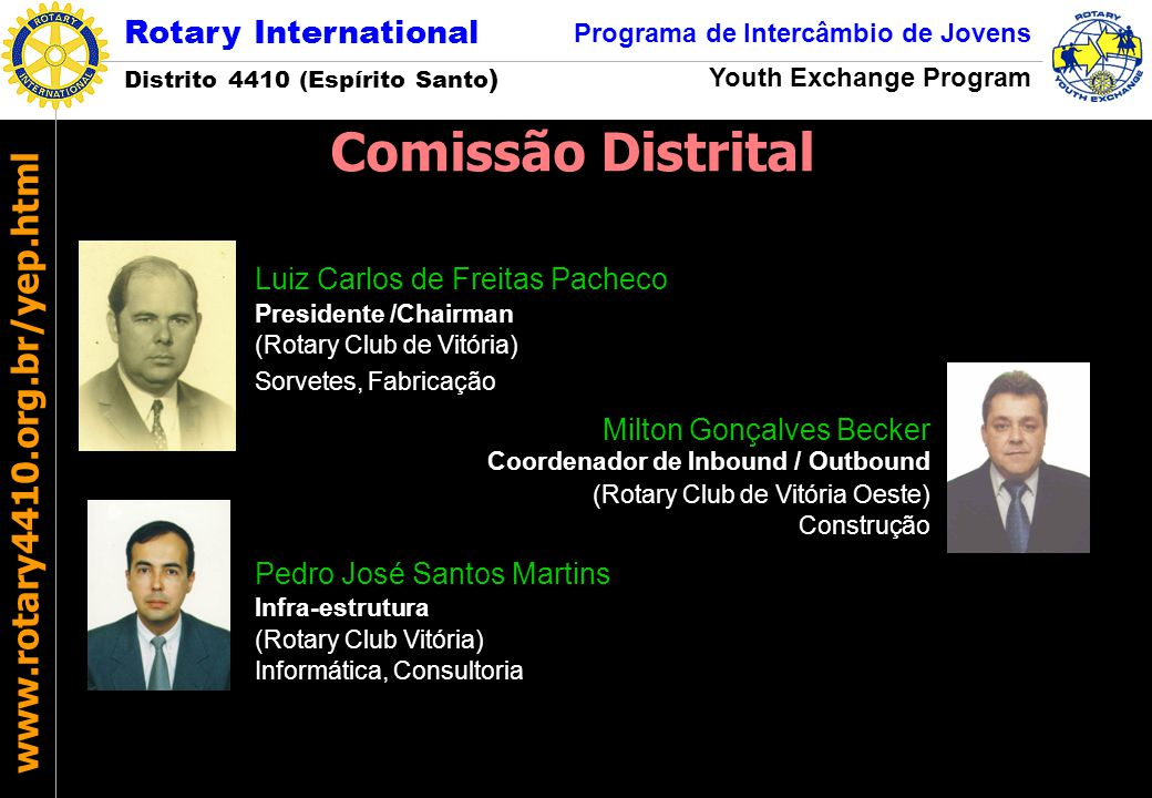 Rotary International Distrito 4410 (Espírito Santo ) Programa de Intercâmbio de Jovens Youth Exchange Program www.rotary4410.org.br/yep.html Candidatos selecionados - Edital 2004/1  Jamile Vescovi Bitti (indicada pelo Rotary Club de Aracruz) - Não se interessou pelas oportunidades oferecidas..