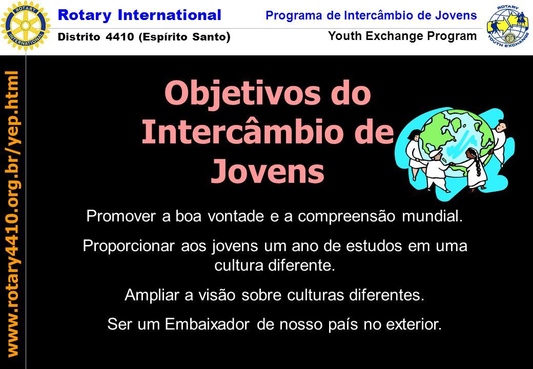 Rotary International Distrito 4410 (Espírito Santo ) Programa de Intercâmbio de Jovens Youth Exchange Program www.rotary4410.org.br/yep.html Promover