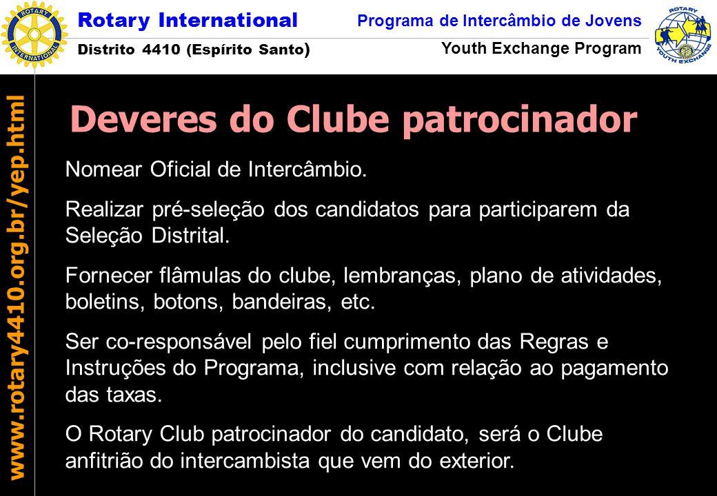 Rotary International Distrito 4410 (Espírito Santo ) Programa de Intercâmbio de Jovens Youth Exchange Program www.rotary4410.org.br/yep.html Nomear Of