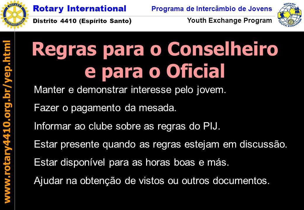 Rotary International Distrito 4410 (Espírito Santo ) Programa de Intercâmbio de Jovens Youth Exchange Program www.rotary4410.org.br/yep.html Manter e