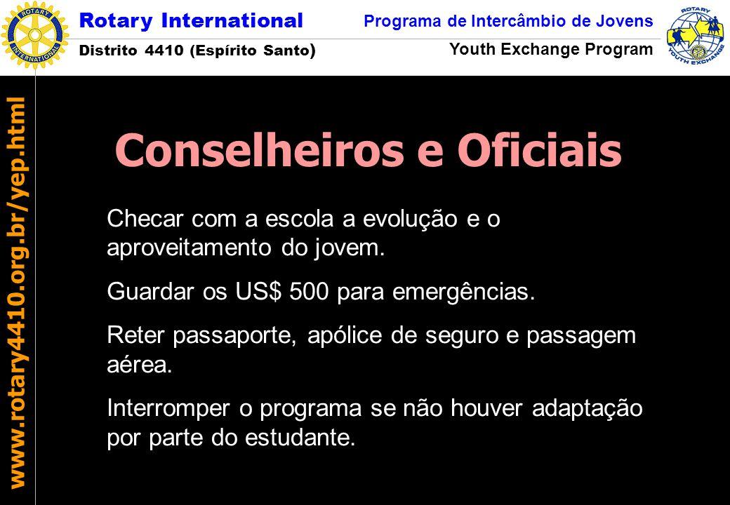Rotary International Distrito 4410 (Espírito Santo ) Programa de Intercâmbio de Jovens Youth Exchange Program www.rotary4410.org.br/yep.html Checar co
