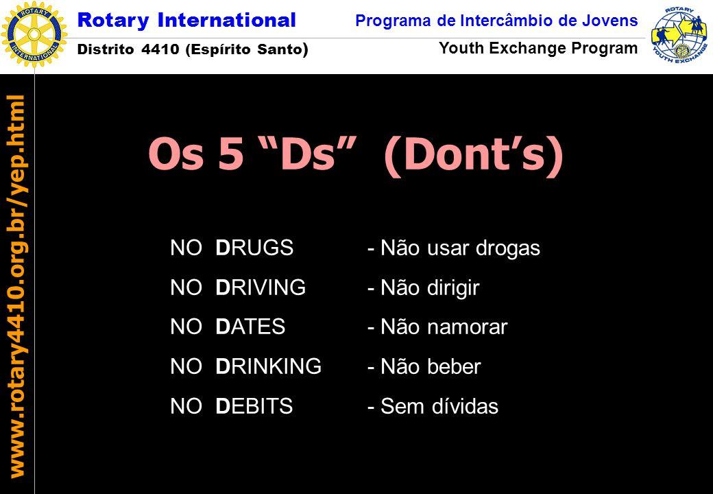 Rotary International Distrito 4410 (Espírito Santo ) Programa de Intercâmbio de Jovens Youth Exchange Program www.rotary4410.org.br/yep.html NO DRUGS-