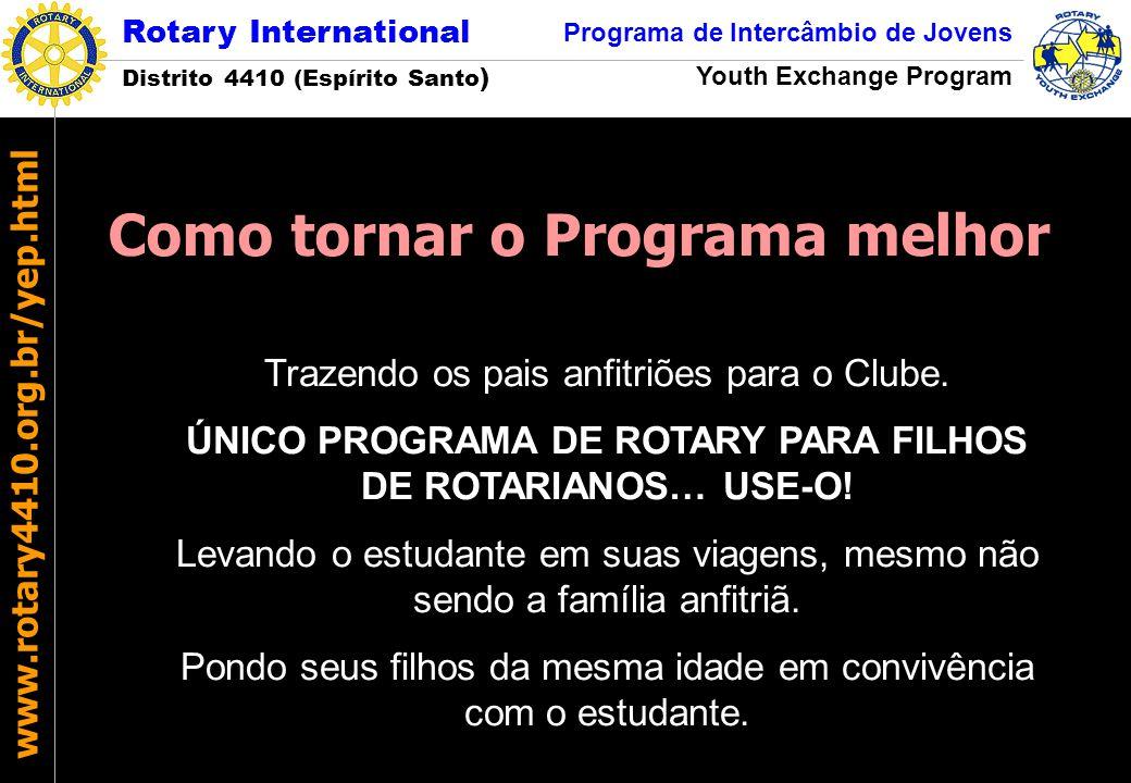 Rotary International Distrito 4410 (Espírito Santo ) Programa de Intercâmbio de Jovens Youth Exchange Program www.rotary4410.org.br/yep.html Trazendo
