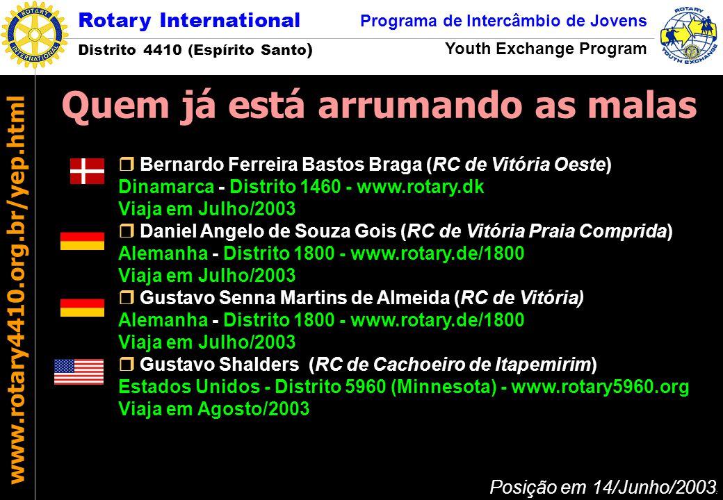 Rotary International Distrito 4410 (Espírito Santo ) Programa de Intercâmbio de Jovens Youth Exchange Program www.rotary4410.org.br/yep.html José Márcio Soares de Barros Coordenador de Inbound Fone (S): (+55-27) 3320-1662 Celular: (+55-27) 9982-3500 E-mail: jose.barros@garoto.com.brjose.barros@garoto.com.br Pedro José Santos Martins Coordenador de Infra-Estrutura Fone (R): (+55-27) 3227-0432 Fone/fax (S): (+55-27) 3322-0076 Celular: (+55-27) 9982-3189 E-mail: pedro@infocentro.com.brpedro@infocentro.com.br Rotary International – Comissão Distrital do PIJ Rua Barão de Itapemirim, 209 /702 Centro 29010-060 - Vitória - Espírito Santo - BRASIL Fone/fax: (+55-27) 3223-5025 E-mail: yep@rotary4410.org.bryep@rotary4410.org.br Rotary International Distrito 4410 (Espírito Santo ) Programa de Intercâmbio de Jovens Youth Exchange Program www.rotary4410.org.br/yep.html