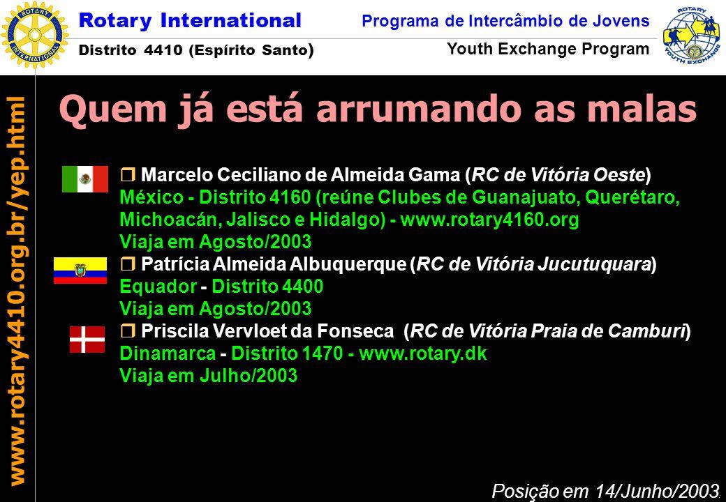Rotary International Distrito 4410 (Espírito Santo ) Programa de Intercâmbio de Jovens Youth Exchange Program www.rotary4410.org.br/yep.html O clube anfitrião determina quem será o Conselheiro e o Oficial de Intercâmbio.