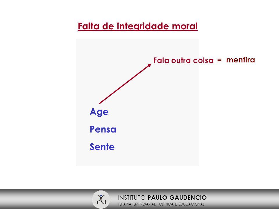 INSTITUTO PAULO GAUDENCIO TERAPIA EMPRESARIAL, CLÍNICA E EDUCACIONAL Falta de integridade moral Age Pensa Sente Fala outra coisa = mentira