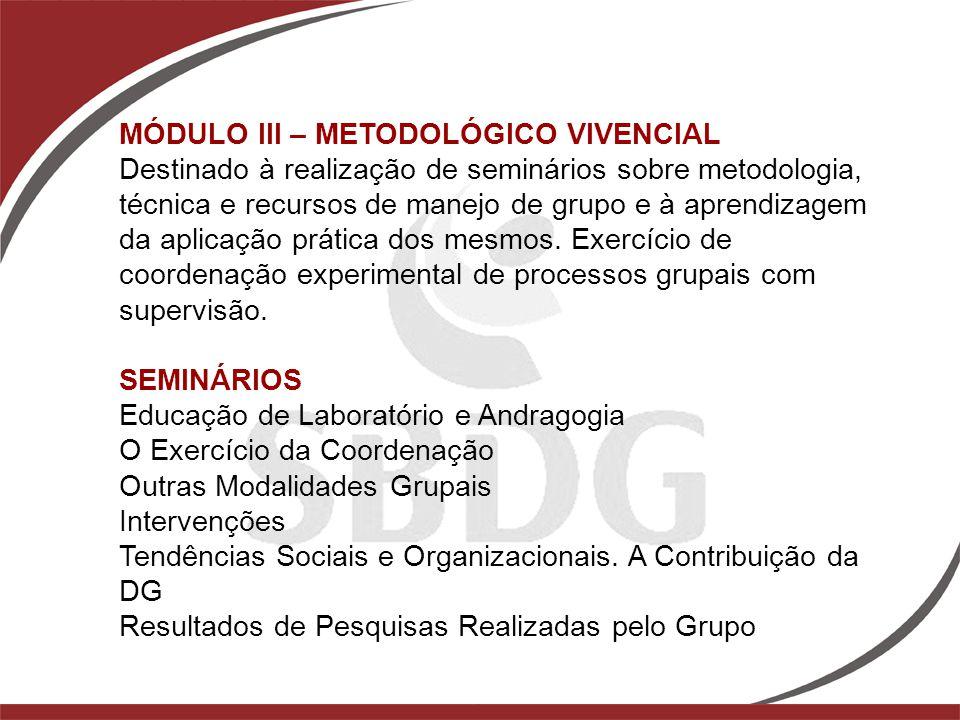 MÓDULO III – METODOLÓGICO VIVENCIAL Destinado à realização de seminários sobre metodologia, técnica e recursos de manejo de grupo e à aprendizagem da