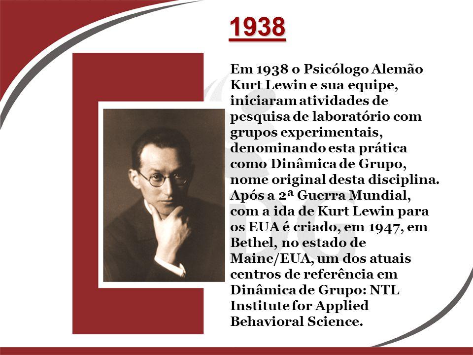 Em 1938 o Psicólogo Alemão Kurt Lewin e sua equipe, iniciaram atividades de pesquisa de laboratório com grupos experimentais, denominando esta prática