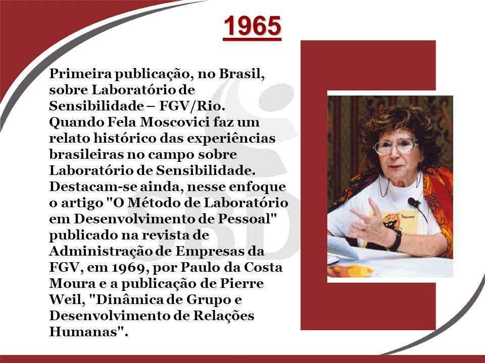 Primeira publicação, no Brasil, sobre Laboratório de Sensibilidade – FGV/Rio. Quando Fela Moscovici faz um relato histórico das experiências brasileir