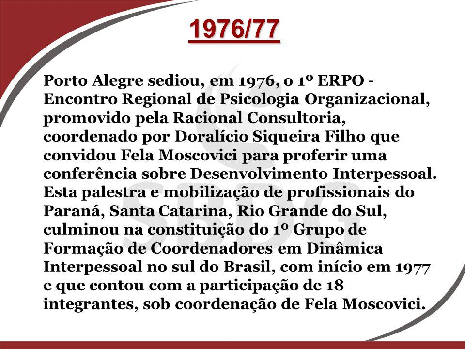 Porto Alegre sediou, em 1976, o 1º ERPO - Encontro Regional de Psicologia Organizacional, promovido pela Racional Consultoria, coordenado por Doralíci