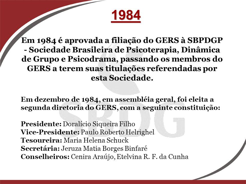 1984 Em 1984 é aprovada a filiação do GERS à SBPDGP - Sociedade Brasileira de Psicoterapia, Dinâmica de Grupo e Psicodrama, passando os membros do GER