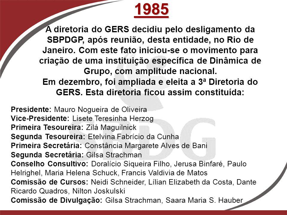 1985 A diretoria do GERS decidiu pelo desligamento da SBPDGP, após reunião, desta entidade, no Rio de Janeiro. Com este fato iniciou-se o movimento pa
