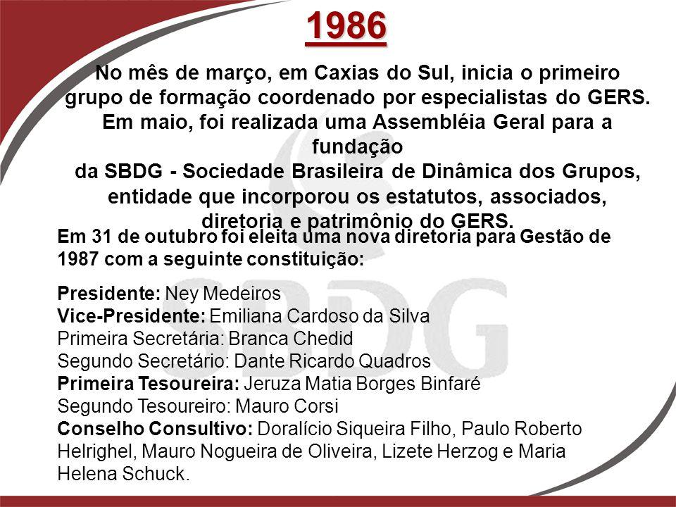 1986 No mês de março, em Caxias do Sul, inicia o primeiro grupo de formação coordenado por especialistas do GERS. Em maio, foi realizada uma Assembléi