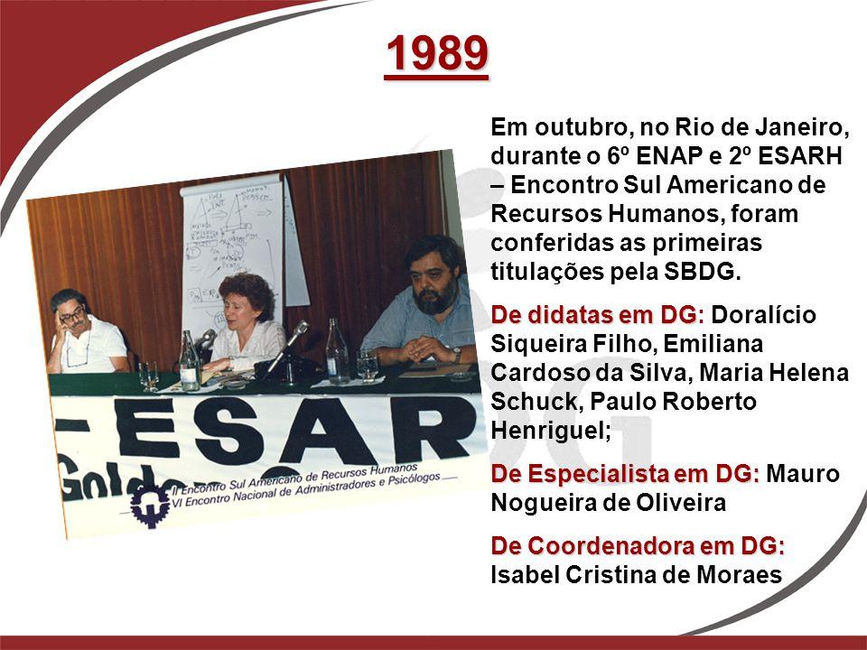 1989 Em outubro, no Rio de Janeiro, durante o 6º ENAP e 2º ESARH – Encontro Sul Americano de Recursos Humanos, foram conferidas as primeiras titulaçõe