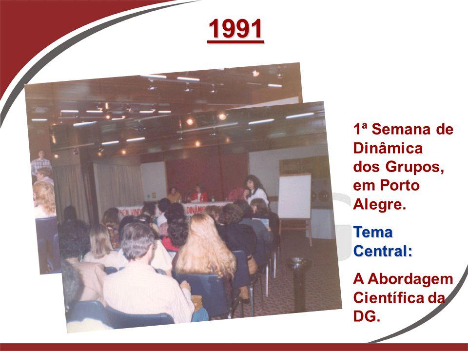 1991 1ª Semana de Dinâmica dos Grupos, em Porto Alegre. Tema Central: A Abordagem Científica da DG.