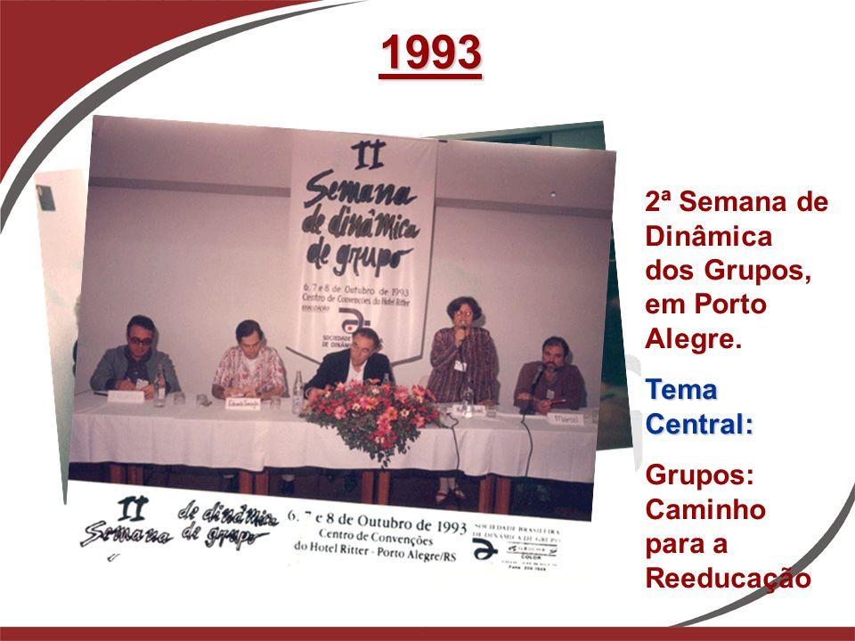 1993 2ª Semana de Dinâmica dos Grupos, em Porto Alegre. Tema Central: Grupos: Caminho para a Reeducação