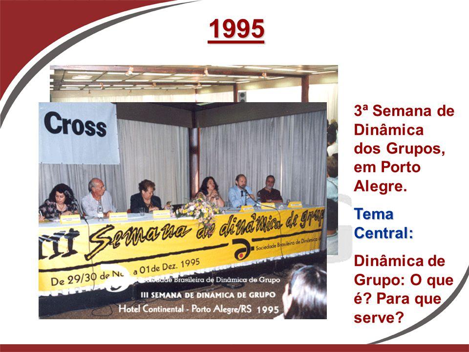1995 3ª Semana de Dinâmica dos Grupos, em Porto Alegre. Tema Central: Dinâmica de Grupo: O que é? Para que serve?