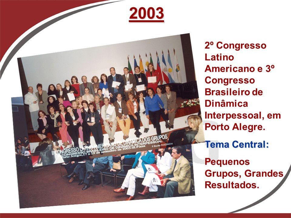 2003 2º Congresso Latino Americano e 3º Congresso Brasileiro de Dinâmica Interpessoal, em Porto Alegre. Tema Central: Pequenos Grupos, Grandes Resulta
