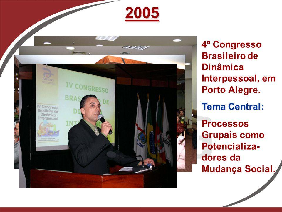 2005 4º Congresso Brasileiro de Dinâmica Interpessoal, em Porto Alegre. Tema Central: Processos Grupais como Potencializa- dores da Mudança Social.