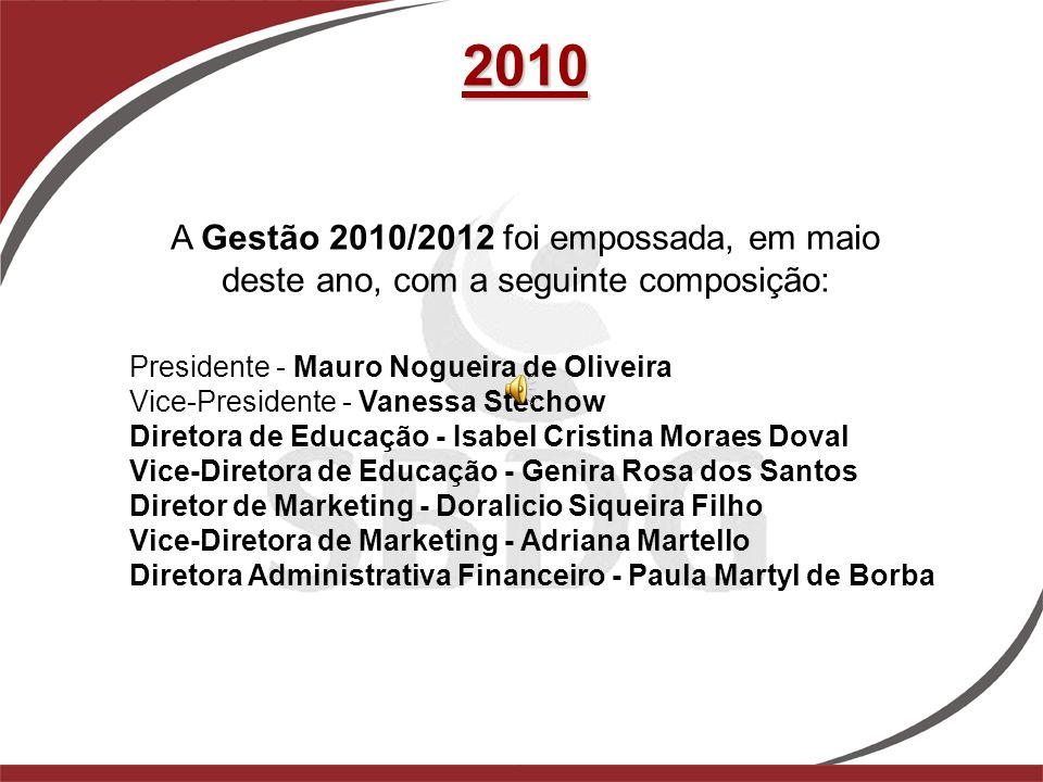 2010 Presidente - Mauro Nogueira de Oliveira Vice-Presidente - Vanessa Stechow Diretora de Educação - Isabel Cristina Moraes Doval Vice-Diretora de Ed
