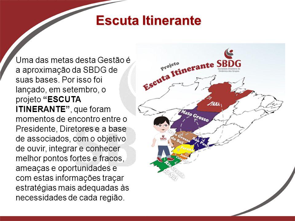 """Escuta Itinerante Uma das metas desta Gestão é a aproximação da SBDG de suas bases. Por isso foi lançado, em setembro, o projeto """"ESCUTA ITINERANTE"""","""