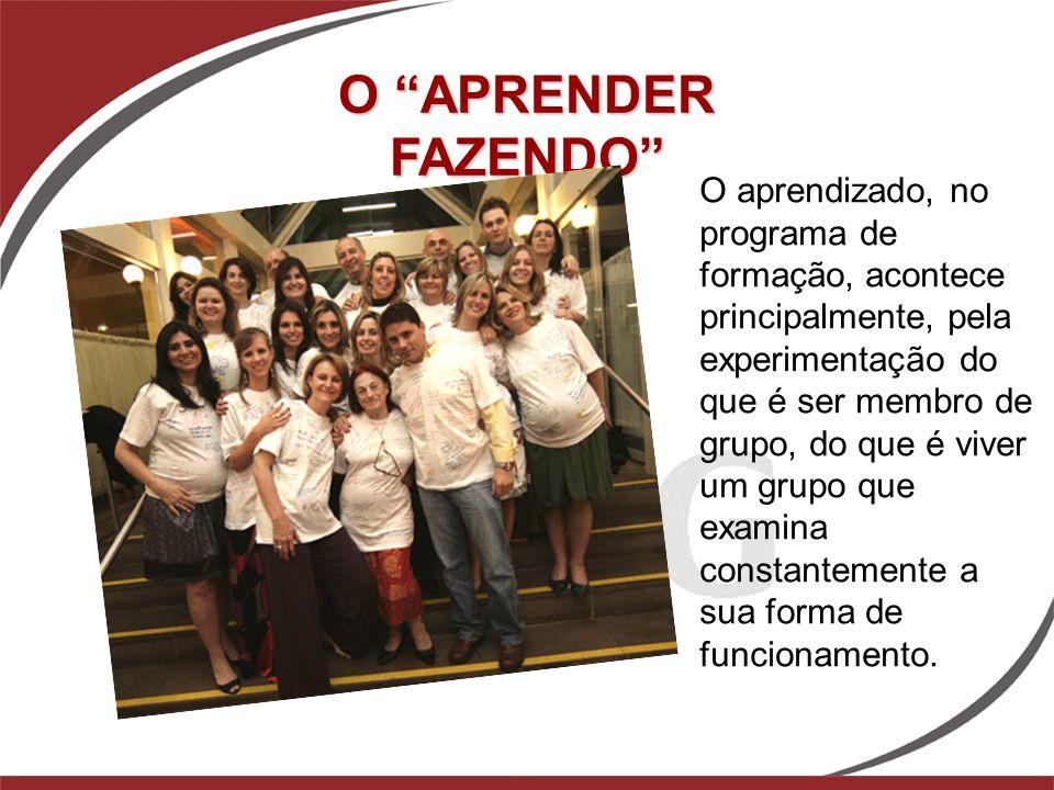 O aprendizado, no programa de formação, acontece principalmente, pela experimentação do que é ser membro de grupo, do que é viver um grupo que examina