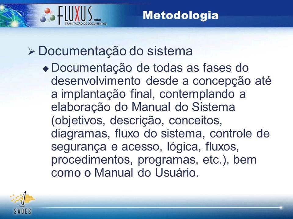  Documentação do sistema  Documentação de todas as fases do desenvolvimento desde a concepção até a implantação final, contemplando a elaboração do