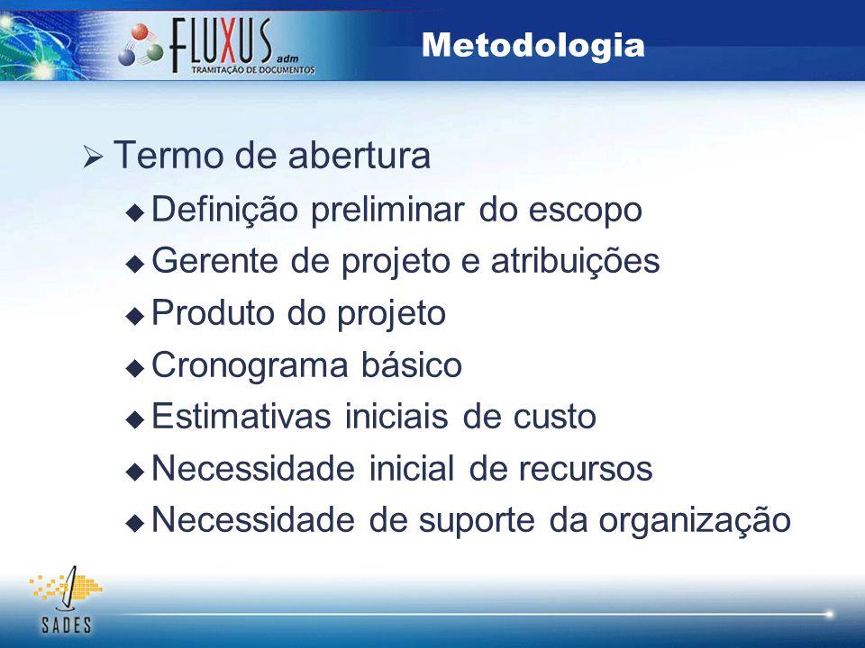  Termo de abertura  Definição preliminar do escopo  Gerente de projeto e atribuições  Produto do projeto  Cronograma básico  Estimativas iniciai