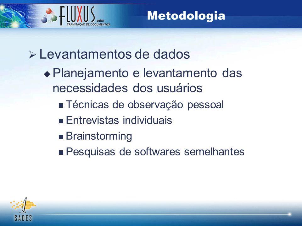  Levantamentos de dados  Planejamento e levantamento das necessidades dos usuários Técnicas de observação pessoal Entrevistas individuais Brainstorm