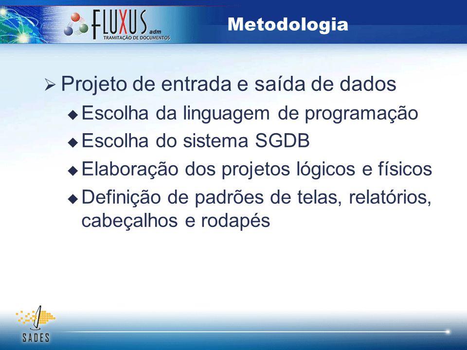  Projeto de entrada e saída de dados  Escolha da linguagem de programação  Escolha do sistema SGDB  Elaboração dos projetos lógicos e físicos  De