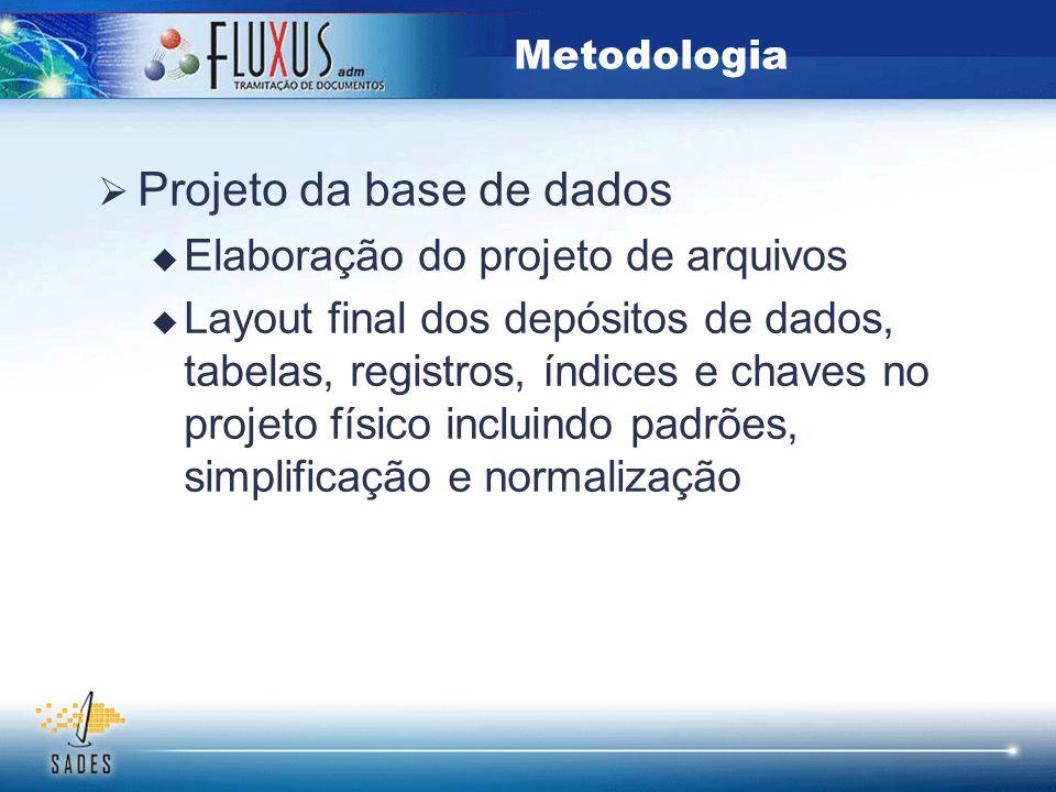  Projeto da base de dados  Elaboração do projeto de arquivos  Layout final dos depósitos de dados, tabelas, registros, índices e chaves no projeto