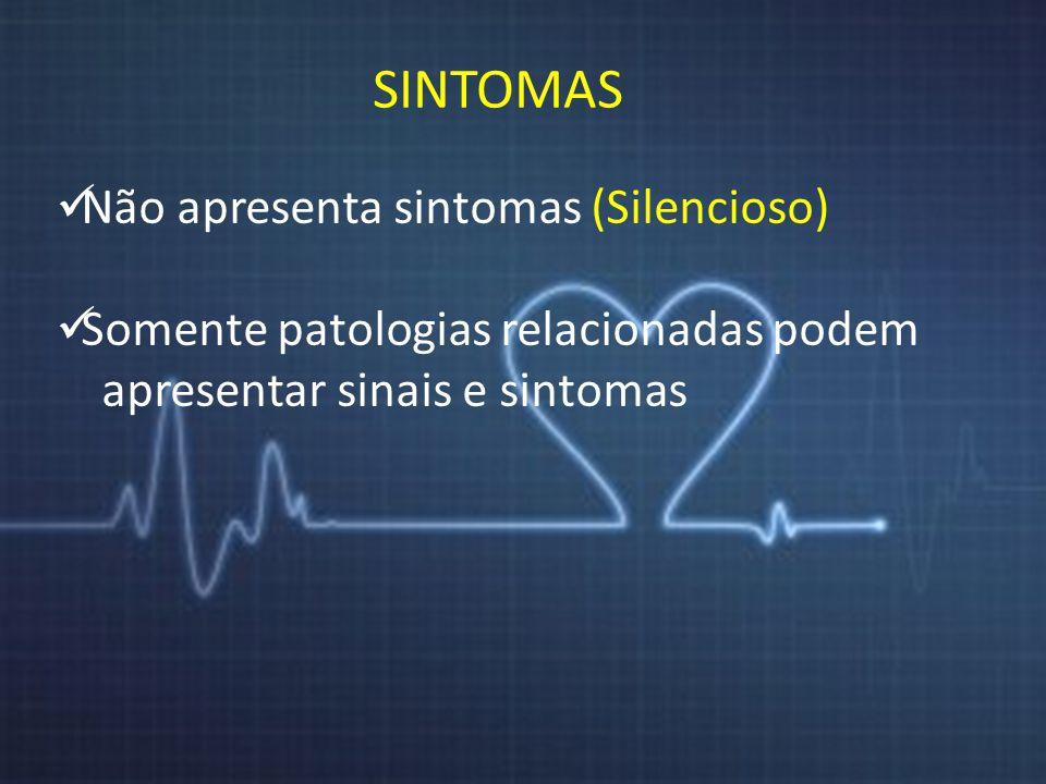 SINTOMAS Não apresenta sintomas (Silencioso) Somente patologias relacionadas podem apresentar sinais e sintomas