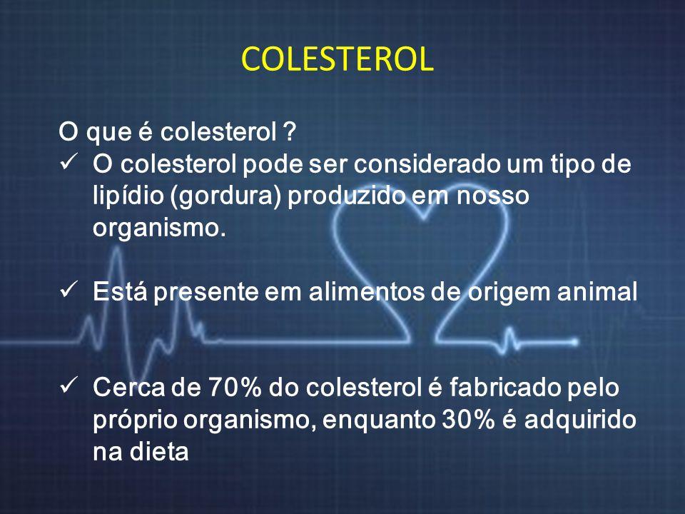 COLESTEROL O que é colesterol ? O colesterol pode ser considerado um tipo de lipídio (gordura) produzido em nosso organismo. Está presente em alimento